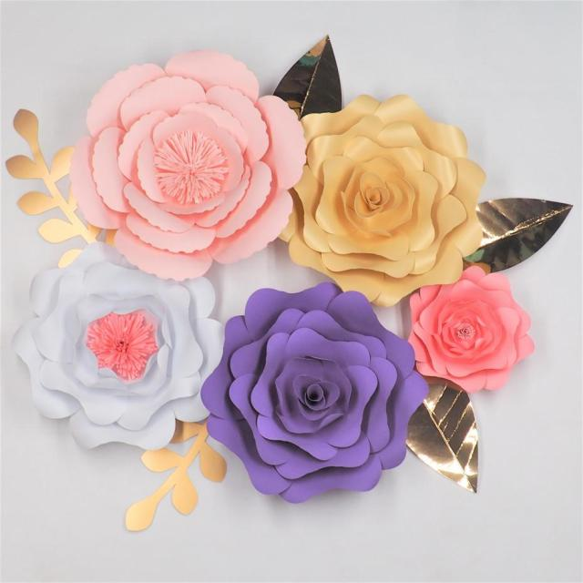 Diy Giant Paper Flowers Backdrop Large Flowers 5 Leaves 5 Wedding