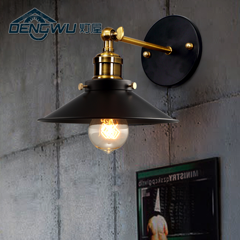 Lamp house retro industrial loft bedroom bedside lamp modern minimalist stairways outdoor wrought iron balcony wall lamp GY150