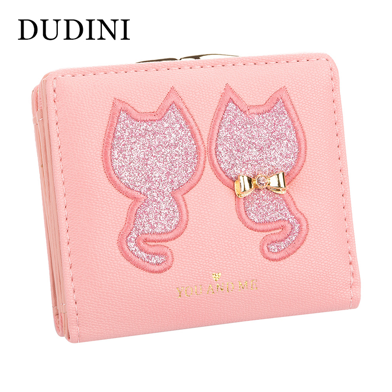 DUDINI PU Leather Women's Wallet Short Section 2 Fold Solid Color Womens Wallets Lovely Embroidery Cat Pattern Small Wallet youyou mouse fashion cute wallet cartoon embroidery pattern retro purse short section pu leather 2 fold multi card bit wallets