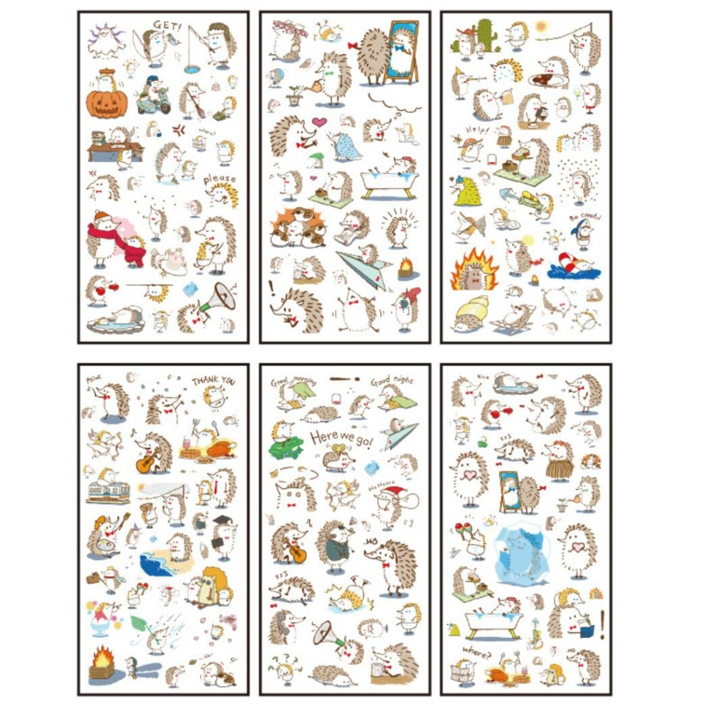 6 Pcs/pack Hedgehog Greetings Decorative Stationery Stickers Scrapbooking DIY Diary Album Stick Lable