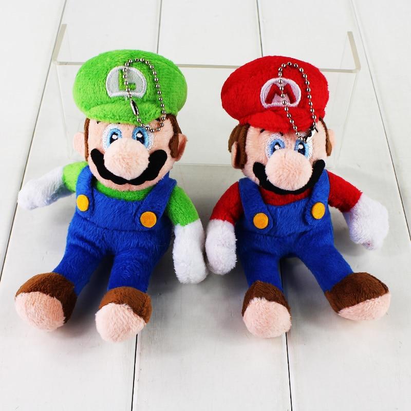 1PCS 15cm Super Mario BrosStand Mario Luigi Plush Doll Phone Keychain Pendant Stuffed Toy Retail Wholesale