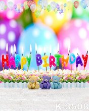 Happy Birthday Theme Digital Printing Muslin Photo Backgrounds Size 5*7ft Children Photography Backdrops Balloon Props Backdrop