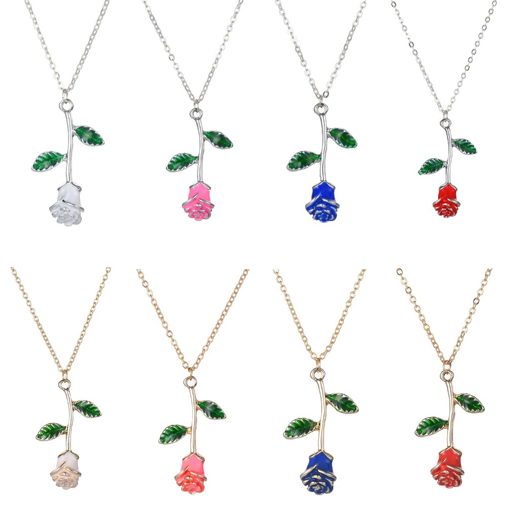 Enamel Red Rose Flower Necklaces For Women Jewelry Choker Gold Silver Color Chain Link Flower Pendant Necklace Valentine Gifts