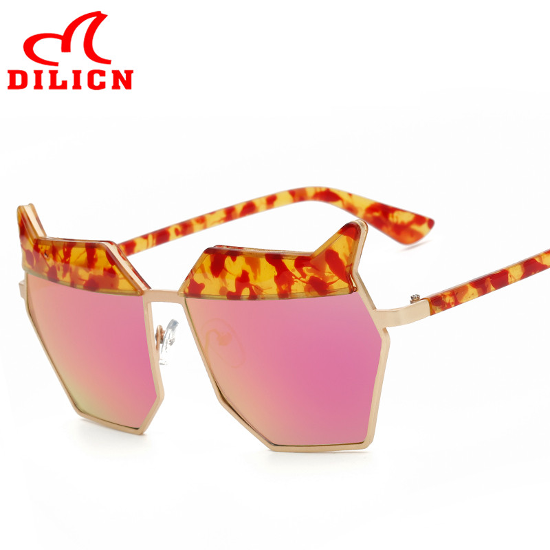 DILICN Ladies Unique Casual Metal Hexagon Sunglasses Women Luxury Brand Shades Red Mirror Sun Glasses Lunette