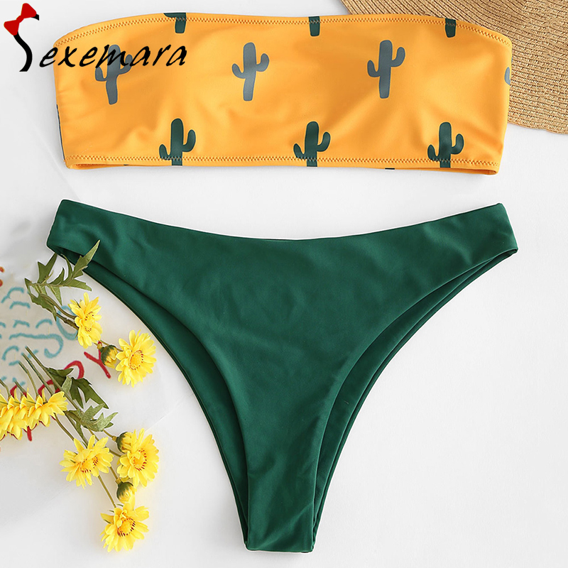 224cfa2b971 cactus print swimsuit push up bikini set sexy bandeau bathing suit women  swimwear pad bikinis 2019