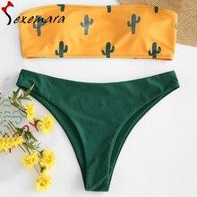 cactus print swimsuit push up bikini set sexy bandeau bathing suit women swimwear pad bikinis 2019 mujer maillot de bain femme