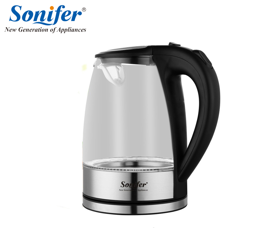 1.8L Electric Kettle Glass stainless steel 1500W Household Quick Heating Electric Boiling Pot Sonifer 1 8l electric kettle heating hot water 1500w electric boiling pot food grade material