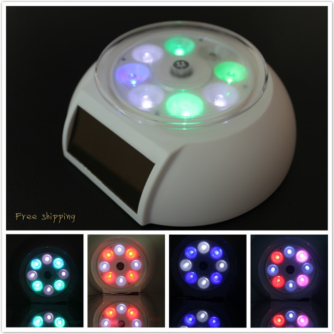 Colorful Solar Powered Jewelry Phone Rotating Display Stand Turn Table with LED Light