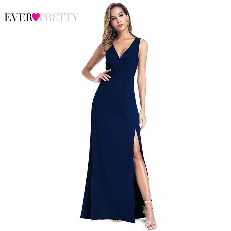 Sexy Navy Blue Evening Dresses Ever Pretty EZ00907 Sleeveless V-Neck High Split Ruffles Elegant Women Mermaid Formal Dresses