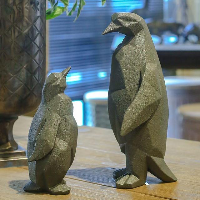 Retro Geometrie Geformt Pinguin Statue Resin Tier Skulptur Handwerk ...