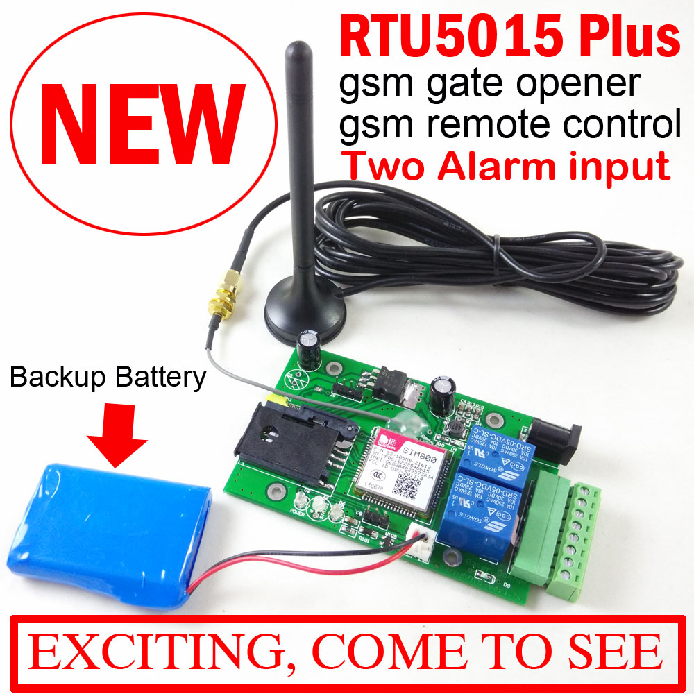 GSM Gate Opener Relay Switch Remote Door Access Control Build-in backup battery for power off alarm Upgrated RTU5015 with APP