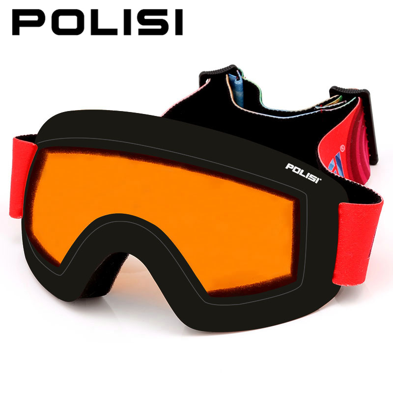 POLISI Winter Snow Snowboarding Glasses UV Protection Double Layer Anti-Fog Lens Ski Goggles Skiing Eyewear, Orange Lens polisi winter snowboard snow goggles men women double layer large spheral lens skiing glasses uv400 ski skateboard eyewear