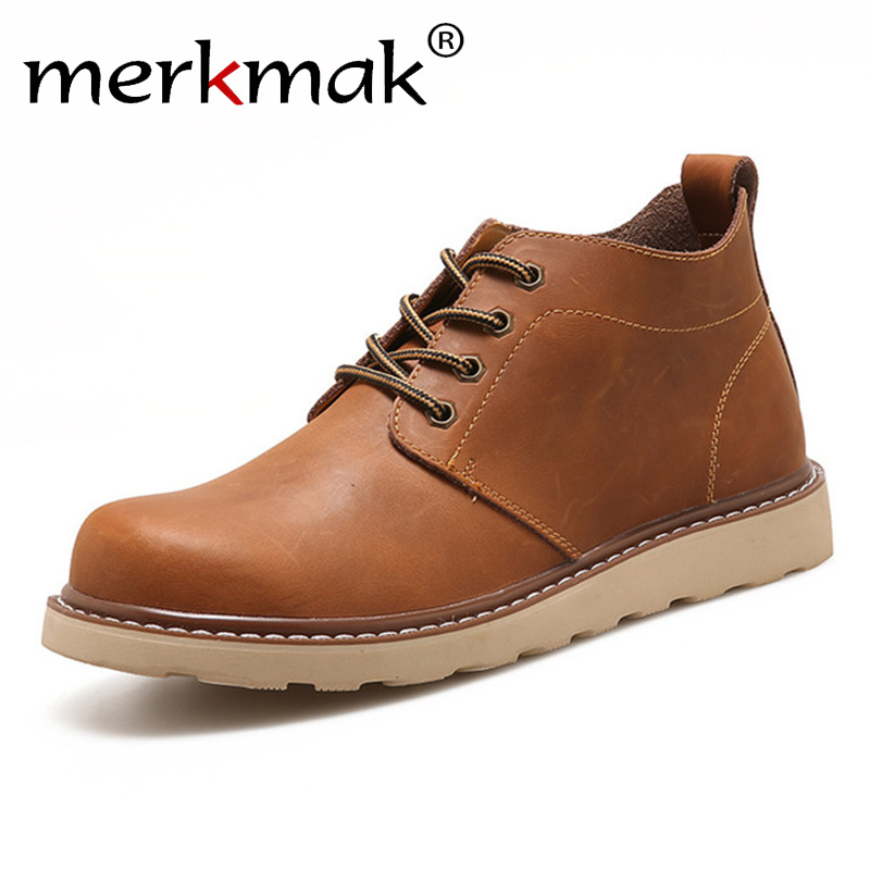 Merkmak Leather Men Boots Autumn Winter Ankle Boots Fashion Casual Footwear Lace Up Shoes Men High Quality Vintage Men Shoes new high quality casual boots men leather flats lace up men ankle boots winter autumn men s shoes casual short boots fashion