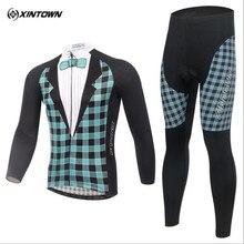 Xintown marca de secado rápido de largo sleev plaid set ciclo jersey desgaste de la bicicleta de montaña bicicleta de carreras ropa ropa conjunto ciclismo