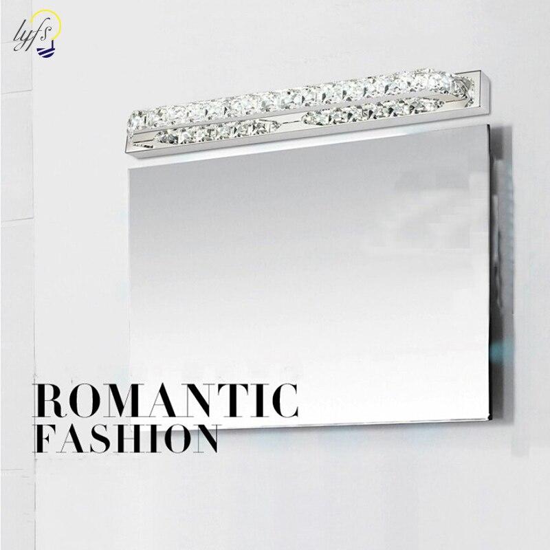 Bathroom Vanity Wall Lighting Fixtures 2700K Warm White Chrome Stainless Steel Crystal Mirror Lamps Modern Wall