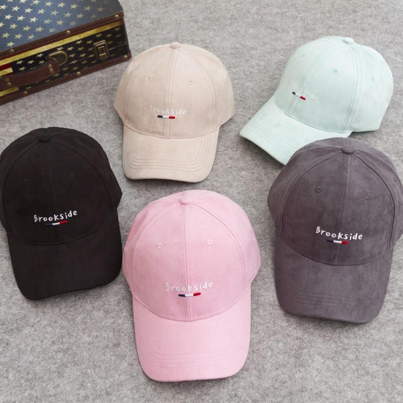 df23540b Summer sun hat Korea Macaron color suede curved eaves baseball cap letter  hat for men and women