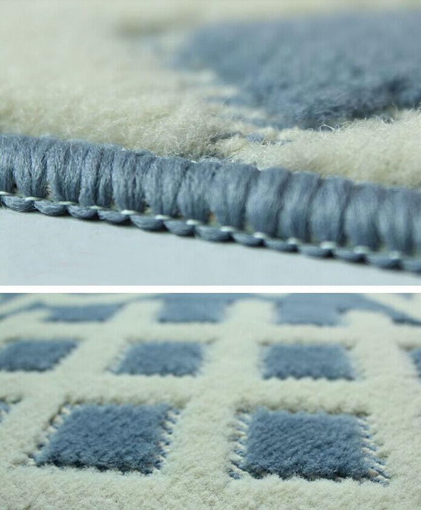 NiceRug 48x78 cm tapis de chambre tapis de sol demi-rond en forme antidérapant Absorption d'eau bleu grille tapis paillasson pour cuisine Bathro - 4