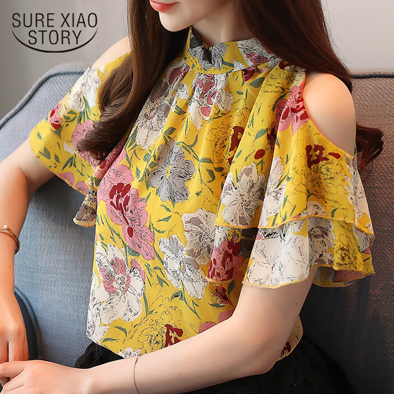 fashion woman   blouses   2019 print chiffon women   blouse     shirt   off shoulder tops summer tops womens tops and   blouses   blusas 0175 60