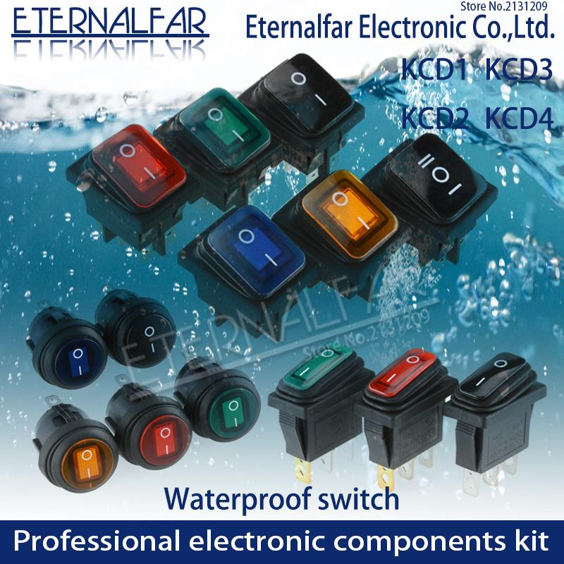 KCD1 KCD2 KCD4 KCD6 On Off 10A 16A 20A 125V 250V AC Heavy Duty DPST Sealed Waterproof Auto Boat Marine Toggle Rocker Switch With
