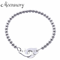 France Famous Jewelry 925 Sterling Silver Handcuff Bracelet For Men And Women Many Silver Beads Chain