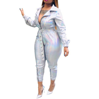 Sexy One Piece Jumpsuit Woman Long Sleeve Turn Down Collar Zipper Front PU Leather Jumpsuits Rompers Casual Silver Parrt Rompers