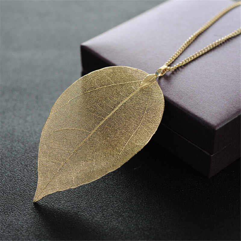 New Arrival Unique Golden True Leaves Necklace Fashion Brand Maxi Long pingente Real leaves of material necklaces & pendants