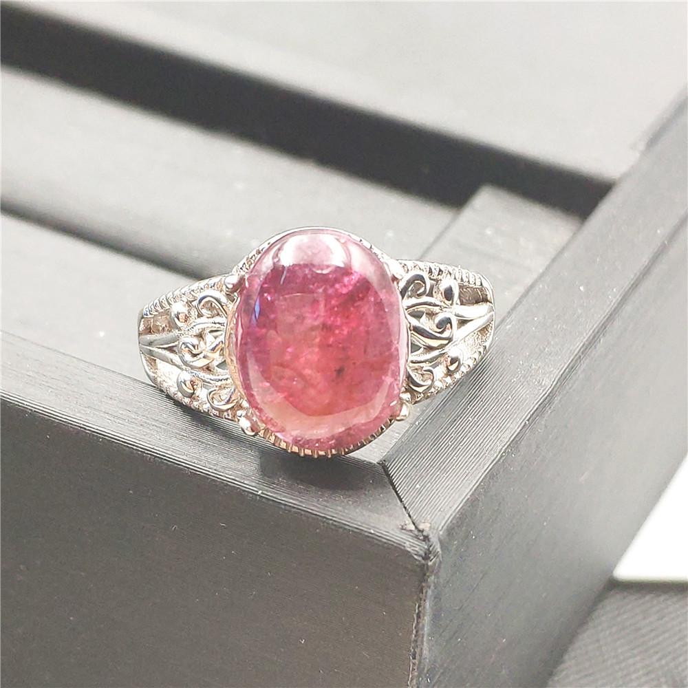 Natural Red Ice Pink Tourmaline Crystal Clear Bead Adjustable Woman Ring 13x10mm Wedding 925 Sterling Silver Ring AAAAANatural Red Ice Pink Tourmaline Crystal Clear Bead Adjustable Woman Ring 13x10mm Wedding 925 Sterling Silver Ring AAAAA