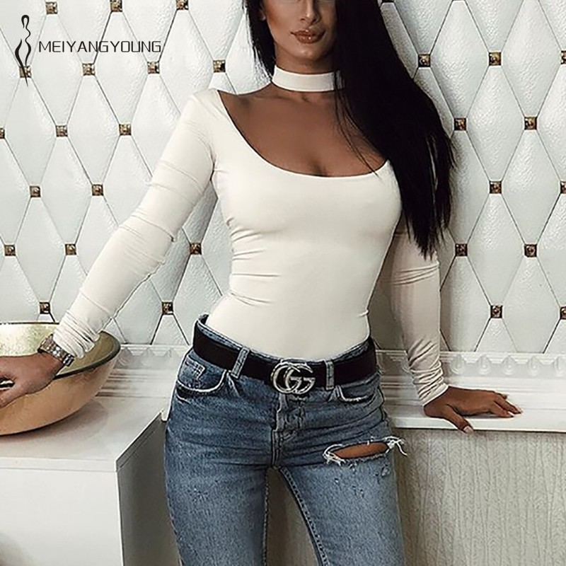 Hollow Out Halter Bodysuit Women Long Sleeve Sexy Rompers Overalls Autumn Winter Casual Solid Ladies Backless Bodysuits