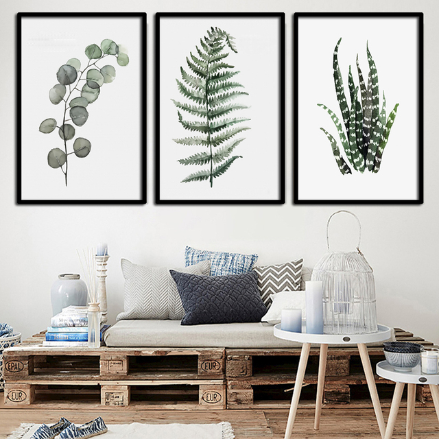 Watercolor Tropical Leaf Canvas Painting Posters Prints Pictures Nordic Poster On Wall Fa693