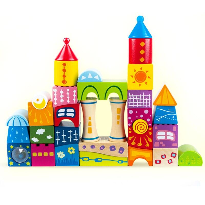 Fiaba castello grande costruzione in legno di legno puzzle bambino giocattoli a base di acqua verde vernice non tossico giocattoli per bambini inodore