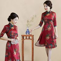 2018 New Chinese Traditional Dress Long Sleeve Red Black Cheongsam Traditional Chinese Dresses For Women Sex