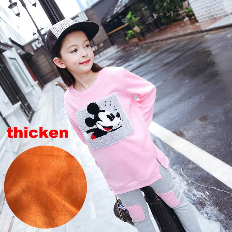 Girls Clothing Sets Mickey Minnie 2017 Autumn Winter Fox T-Shirt+Pant 2pcs Jumpsuit Kids Girl Sports Suit for Children Clothes fasion mickey children clothing set baby girls boys clothes sets minnie short sleeve t shirt pant summer style kids sport suit
