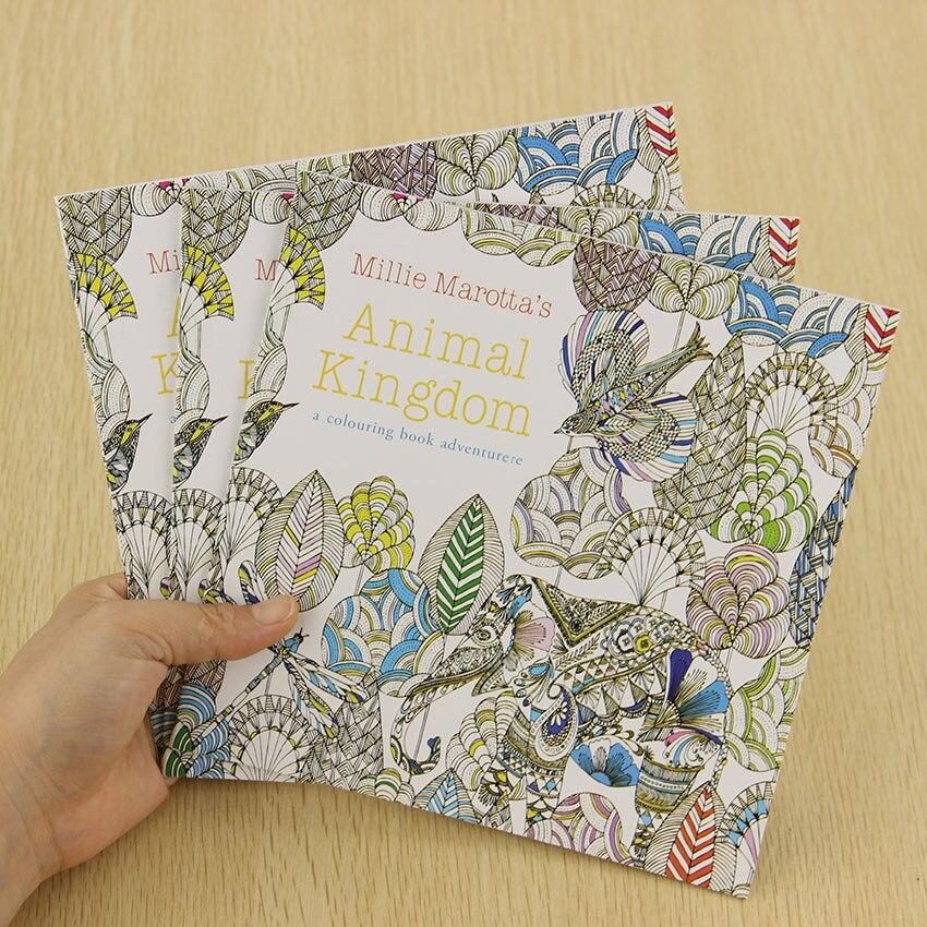 Школа Офис книга животное Королевство 24 страницы ручная роспись граффити раскраски книги снять стресс живопись книга