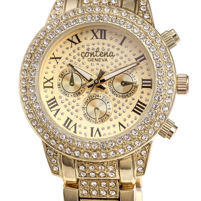 Nieuwe mode luxe merk vrouwen jurk horloges goud dames diamant quartz - Dameshorloges