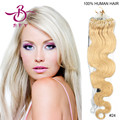 5A Wet and Wavy Virgin Brazilian Hair Micro Loop 100% Human Hair Extensions 100strands 0.8g/strand #24 Medium Blonde 20""