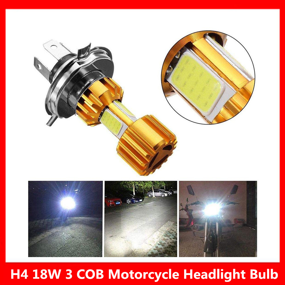 1Pcs Motorbike H4 18W LED 3 COB Motorcycle Headlight Bulb 2000LM 6000K Hi/Lo Beam Motorbike Headlight