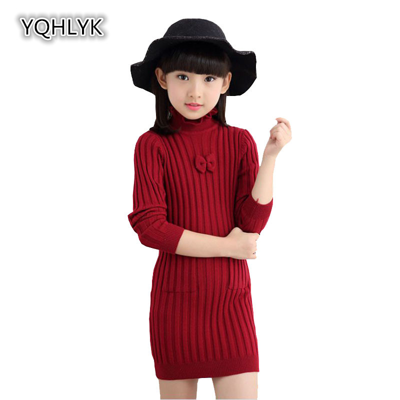 New Fashion Autumn Winter Girl Dress 2018 Children Thick High Neck Long Sleeve Knit Tight Dresses Sweet Slim Kids Clothes W116 sweet round neck button down knit dress for women