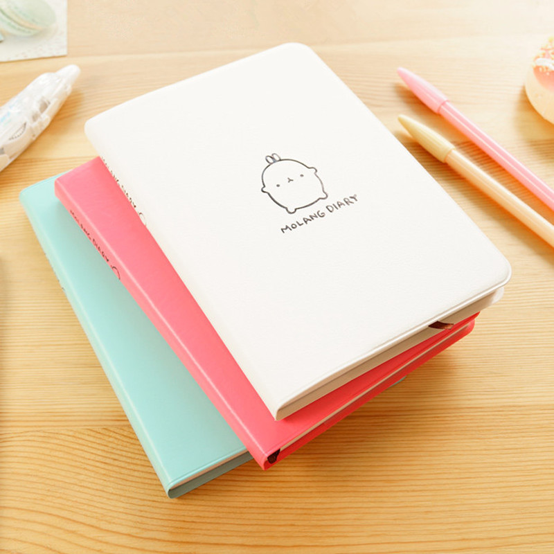 2017-2018 New Molang Rabbit Diary Creative Leather Anime Notebook a5 School Cute Kawaii Korean Dairy Planner Journal Stationery  -  MAOJA store