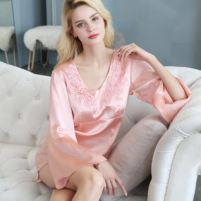 S55137 Women Summer silk   nightgown   female lace 100% silk Sleep Dress loose Dress Home Furnishing   Nightgowns   &   Sleepshirts