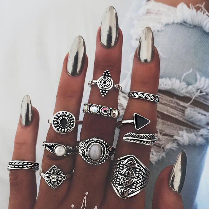 Vintage Colored Stones Triangle Feather Bohemia 10pic/sit tiny rings sortijas ajustables ring Beach Summer Woman's Jewelry