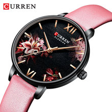 CURREN Unique Lady Watch Flower Ultra-thin Black Pink Leather Belts Bracelet Quartz Fashion Wristwatch Reloj Mujer Wife Present curren unique lady watch flower ultra thin black pink leather belts bracelet quartz fashion wristwatch reloj mujer wife present