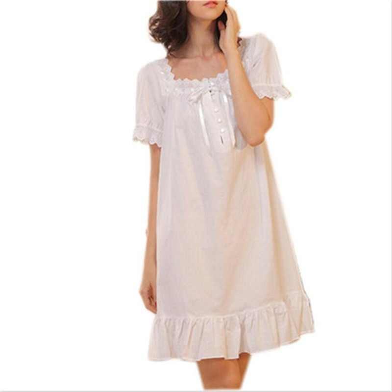 Summer Sleep Wear Night Shirt Home Dress White Cotton Nightgown Nightwear  Women Plus Size Sleepwear Plain 09b701a5f
