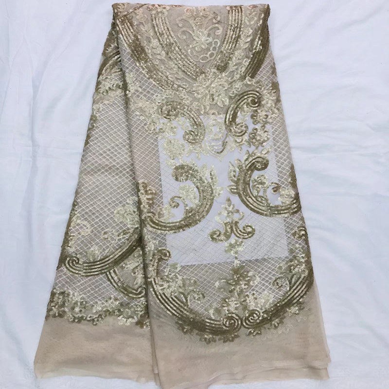Champagne gold glittered embroidered Mesh Tulle fabric sequins Nigerian lace fabrics sparkling dress fabric QG347