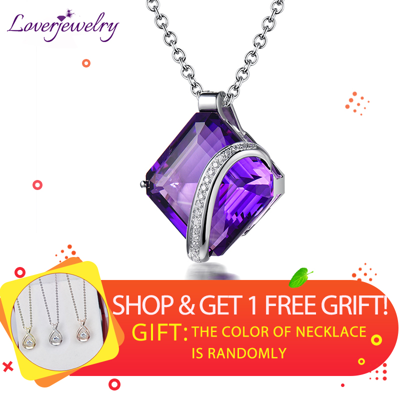 100 Genuine Diamonds Natural Amethyst Gemstone Pendant Jewelry For Women Anniversary Necklace Pendants Jewelry Without Chain