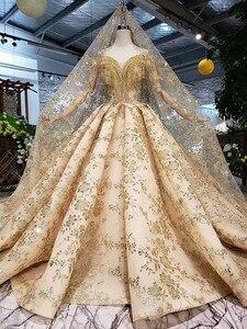 Image 4 - 100% Real รูปภาพหรูหราชุดแต่งงานชุด Golden Fluffy Sequins Tulle ลูกปัดคริสตัล 2020 ใหม่ที่กำหนดเอง SK02