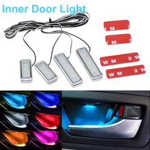 1set Atmosphere Lamp Lights Interior Auto Decorative Inner Door Bowl Wrists Armrest Ambient Light Car