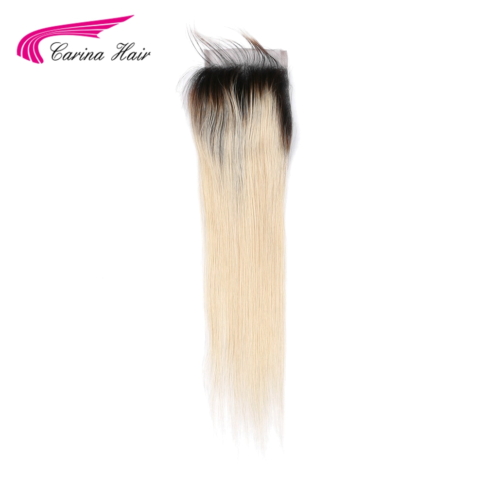 Carina Ombre Blonde Straight Hair Swiss Lace 4 4 Lace Closure With Baby Hair Free Part