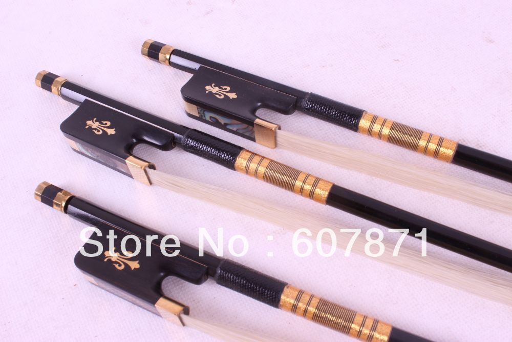 Two Cello Bow Black Carbon fiber Round Stick Ebony frog Flower Pattern 4/4 New 2 pcs quality cello bow carbon fiber bow stick ebony frog one silver wire inlay and one with red wire inlay white bow hair