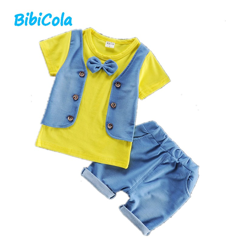 BibiCola Boys Gentleman Suits 2017 New Style Summer Baby Boys Clothes T-shirt + Shorts 2pcs Set Outfits Baby Sport Suit Sets 2016 new summer baby sport suit 100