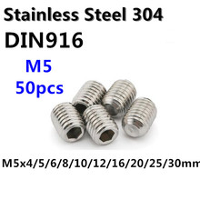 50pcs/lot M5 Stainless Steel Grub Screw DIN916 M5*4/5/6/8/10/12/16/20/25/30mm Hex Socket Set Screw